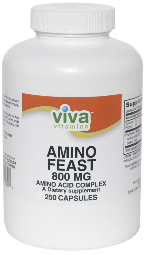 Amino Feast 800mg (250 caps) muscle, fitness, strength, repair, hormones
